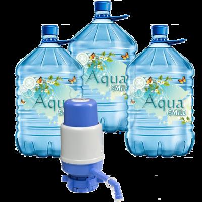Вода Обнинск: Набор «Вода «Aqua Smile 19 литров ПЭТ» (3 шт) и помпа»
