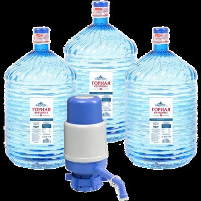 Вода Обнинск: Набор «Вода «Горная вершина 19 литров ПЭТ» (3 шт) и помпа»