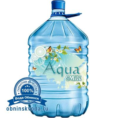 Вода Обнинск: Вода «Аква Smile» 19 литров ПЭТ