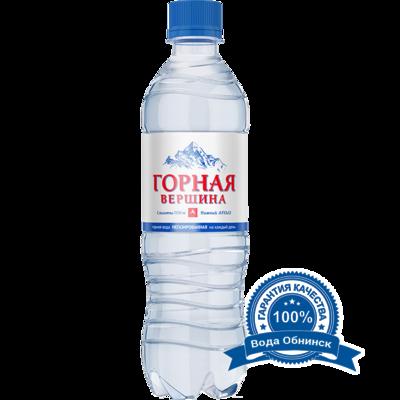 Вода Обнинск: Вода «Горная вершина» НЕГАЗИРОВАННАЯ 0,5 литра (12 шт.)