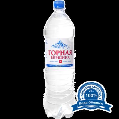 Вода Обнинск: Вода «Горная вершина» НЕГАЗИРОВАННАЯ 1,5 литра (6 шт.)